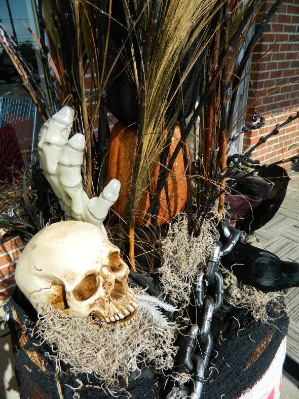 Skull and Goblins in a Container Garden for Halloween