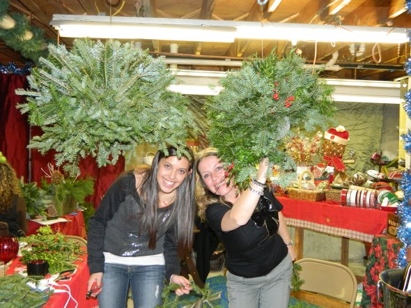 KB Class Attendees working on their Kissing Balls with Evergreens