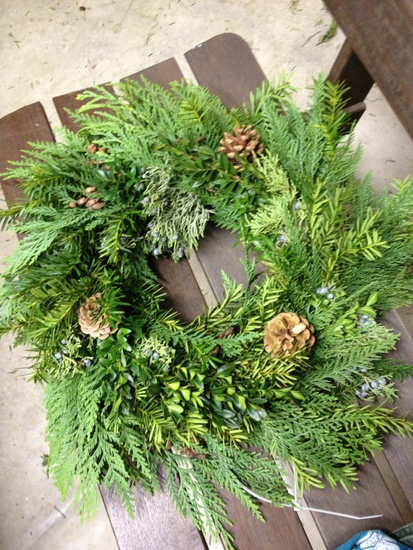 A wreath made in class by an attendee