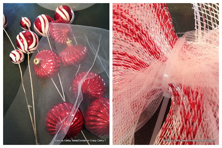 Using Zip Ties to attach Deco Mesh Ribbon to your Decorating Projects (5/6)
