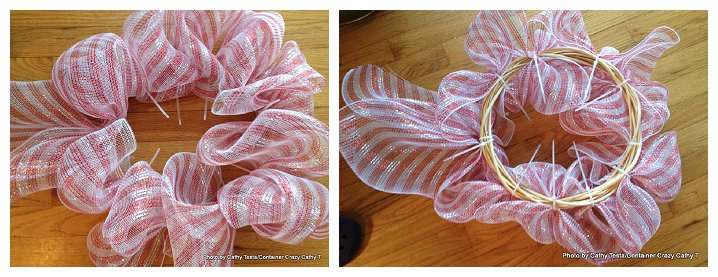 Using Zip Ties to attach Deco Mesh Ribbon to your Decorating Projects (4/6)