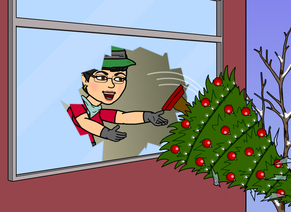 Cathy T tosses old decorations out the window to prepare for new festive decorations!