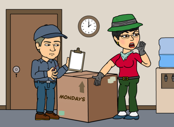 "Cathy yelling ""something is missing here!"" Photo Source: Bitstrips"