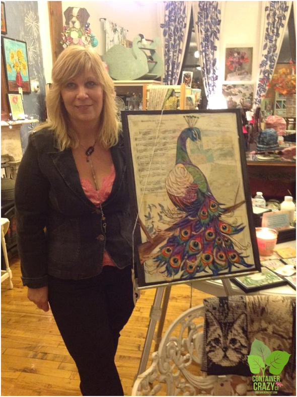Laura Sinsigallo with her painting - Out guest artist in April