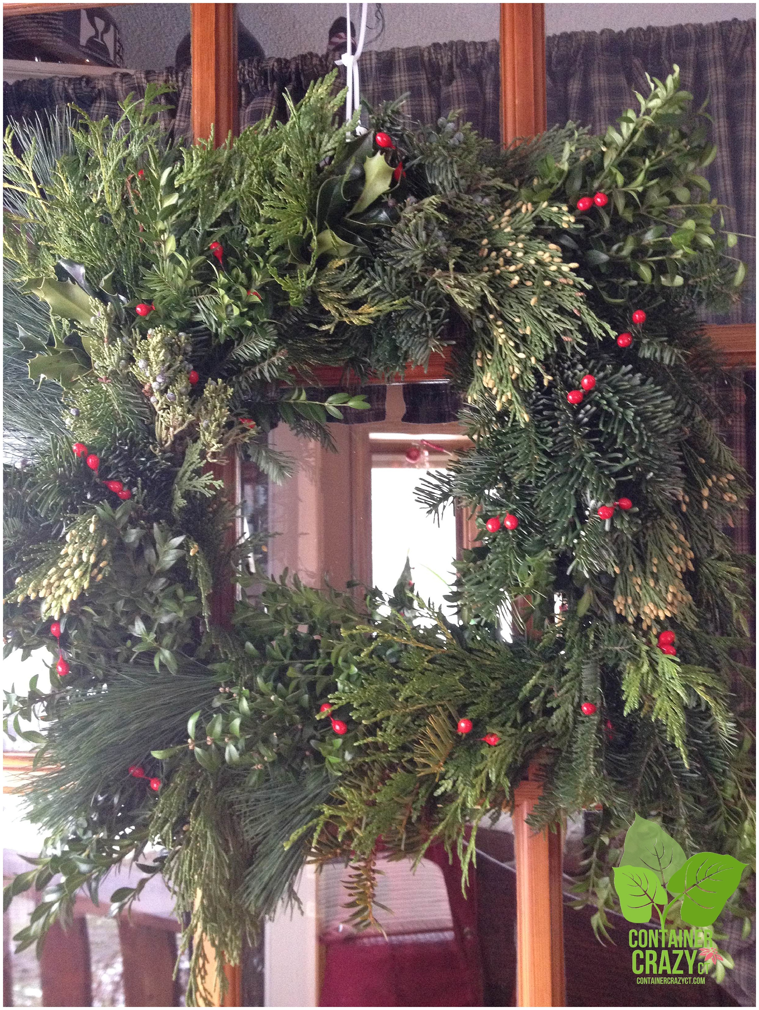 Square Wreath with Red Berries Attached